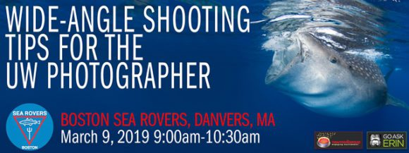 Wide angle workshop at Boston Sea Rovers Clinic. Learn underwater photography.